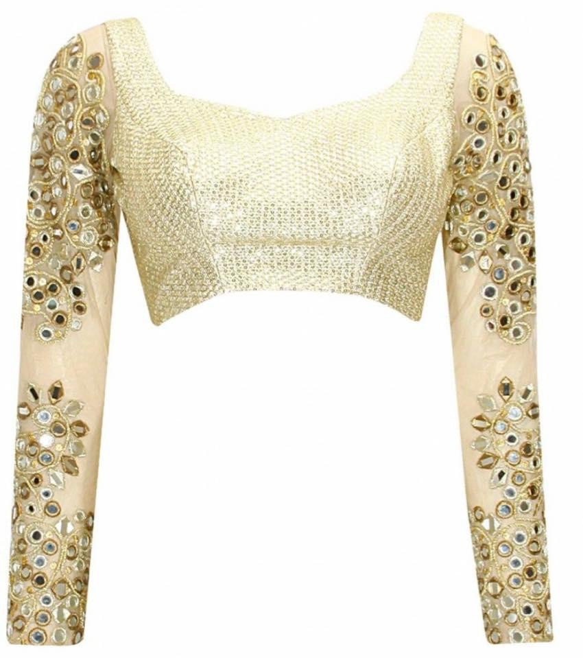 Full sleve mirror work blouse