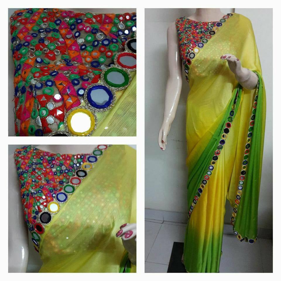 Saree and mirror work bl