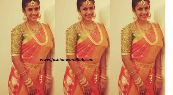 Niharika Konidela in Sreeja Wedding in Traditional saree