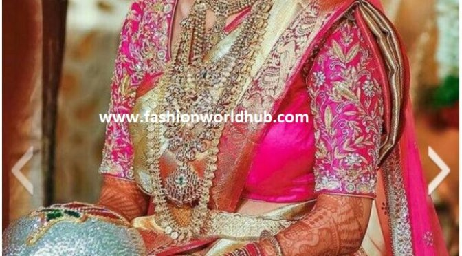 639853700ac9d Look at the beautiful elbow length maggam work blouses which is full of  zardosi work