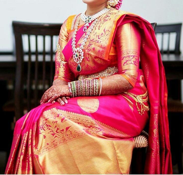 e599ebfc81c4b Simple pattu saree elbow length blouse with heavy border. plainnn. plainnn.  plain