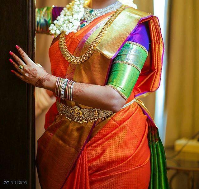 f85ba42d0f5eb Simple pattu saree elbow length blouse with heavy border. plainnn