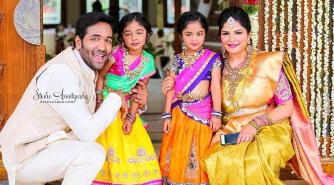 Image result for manchu vishnu kids in halfsaree