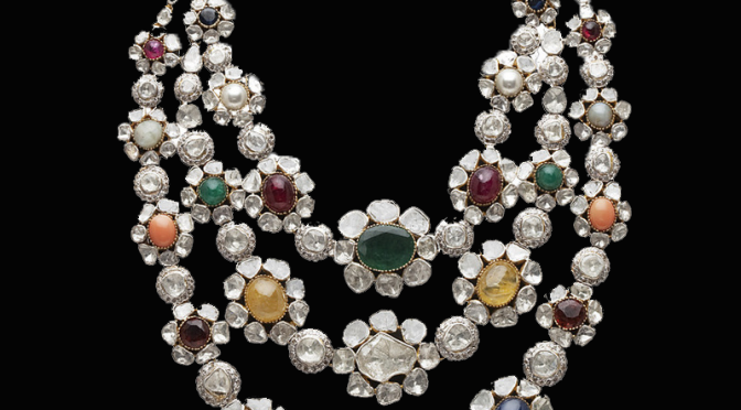 Flat Diamonds Navratan Rani necklace