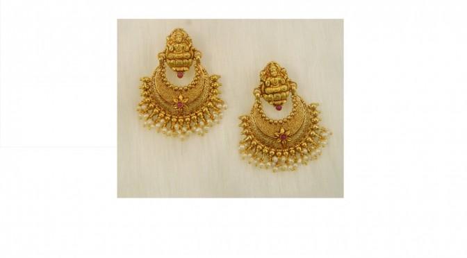 Gold lakshmi chandbali – Buy online