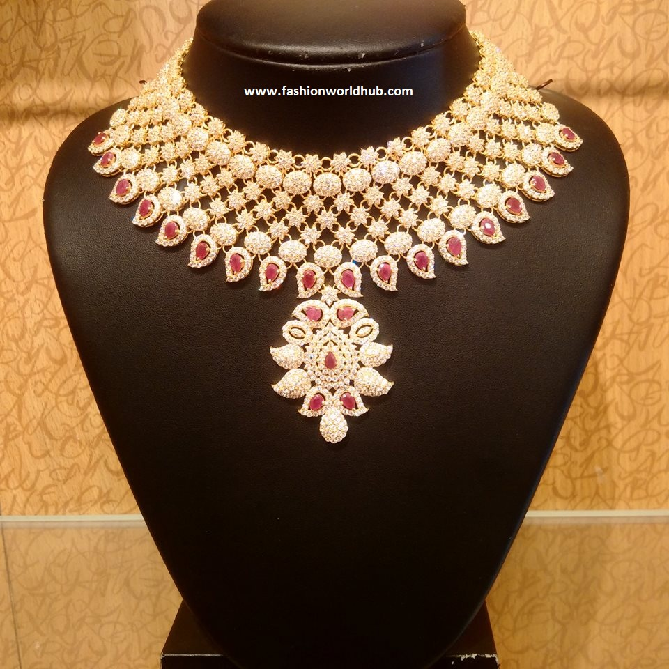 jewellery set itm image necklace indian plated cz s is gold bollywood bridal loading heavy pendant