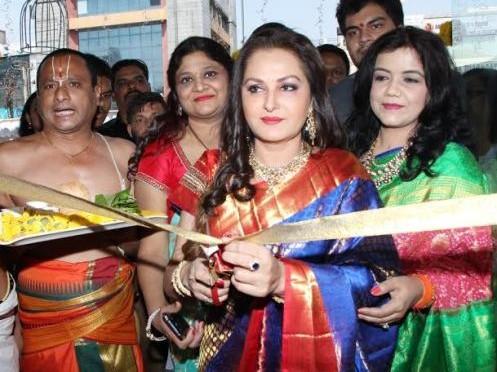 Jayapradha in Kanjeevaram saree for Trisha showroom launch