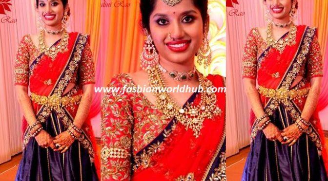 Blue and Red bridal lehenga by Mrunalini Rao