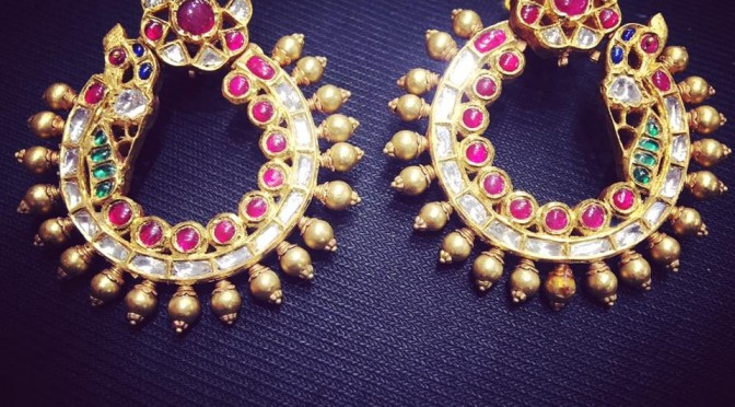 Gold Antique Chandbali Ear rings