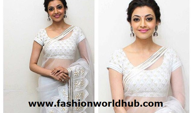 Kajal Aggarwal in White designer saree