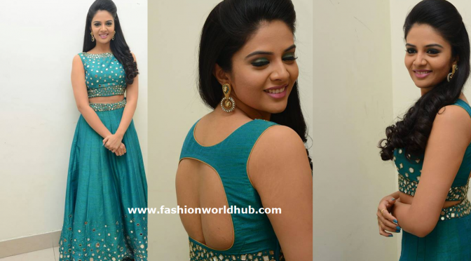 Sreemukhi in a mirror work Skirt and Crop top