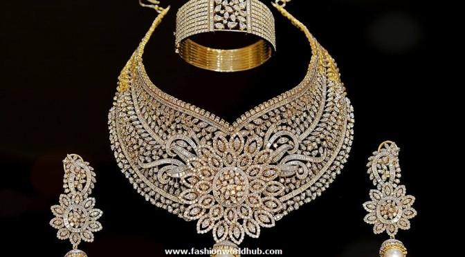 Bridal Diamond Choker , Ear rings & bracelet