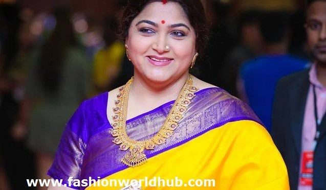 Kushbhoo Sundar in Yellow Kanjeevarm Saree