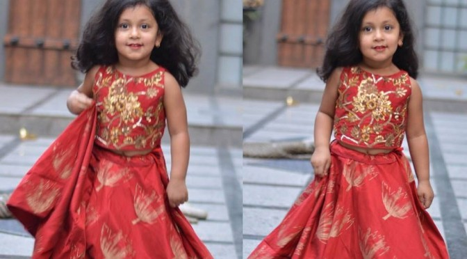 Red Silk Printed Kids Lehenga – Anitha Reddy