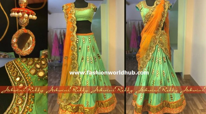 Mint Green and Orange Lehenga honi