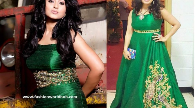 Sneha in Green Long frock