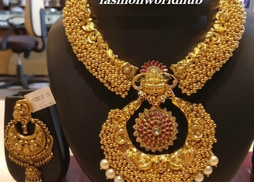 marriage bridal haras lakshmi full products combos set bridalmarriage griiham grande necklace plated gold one guranteed studded gram