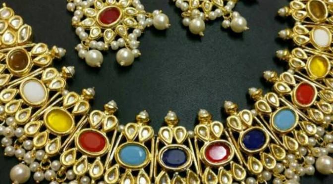 Multi colour Kudan Necklace set – 2900 RS