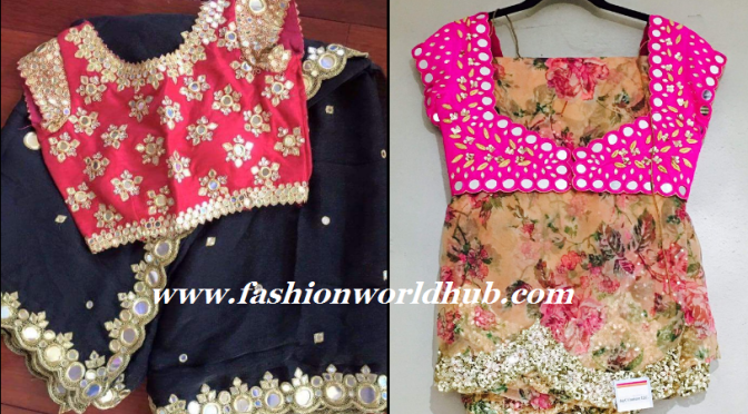 Mirror Work Saree and Blouse