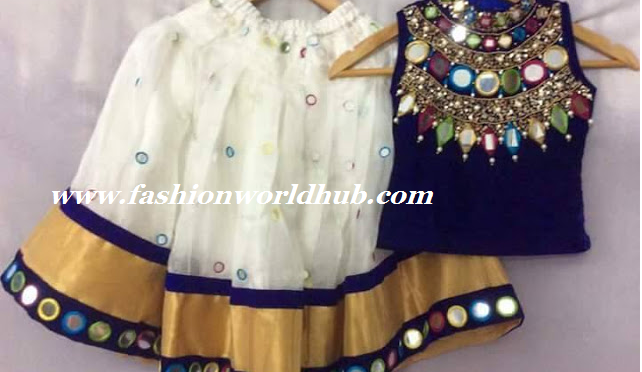 Kids Mirror Work Lehenga In White Fashionworldhub