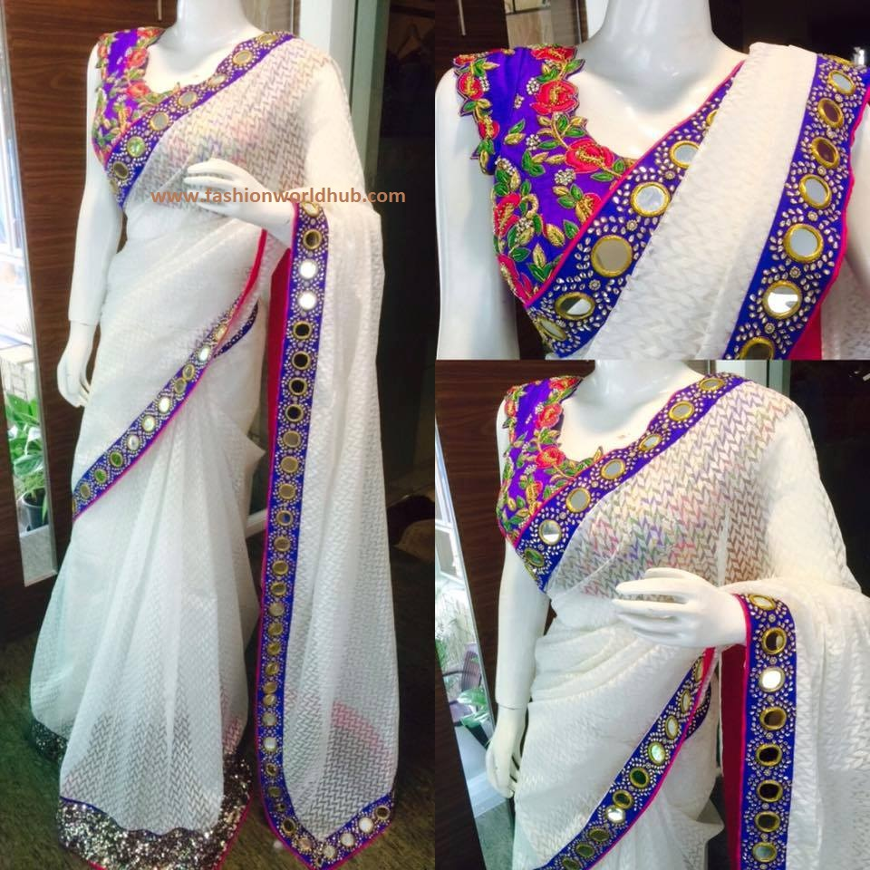 aa859271231423 Now that trend has come back again. es .Always a contrast colour blouse to  the saree with give a decent look to the attire. Beautiful Mirror work  blouses ...
