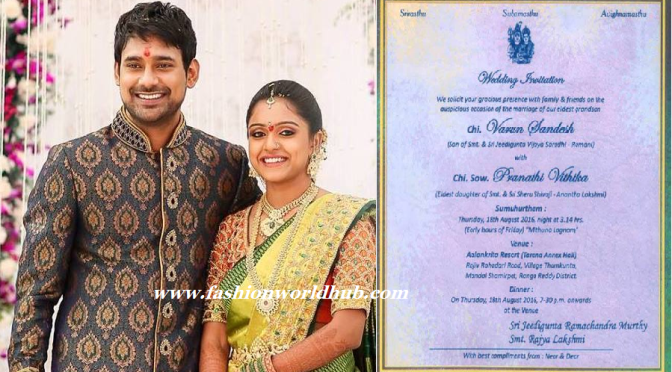 Varun Sandesh & Vithika Wedding Card!