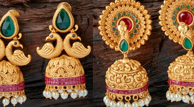 Beautiful One gram gold Jumkha designs! kushals- buy online