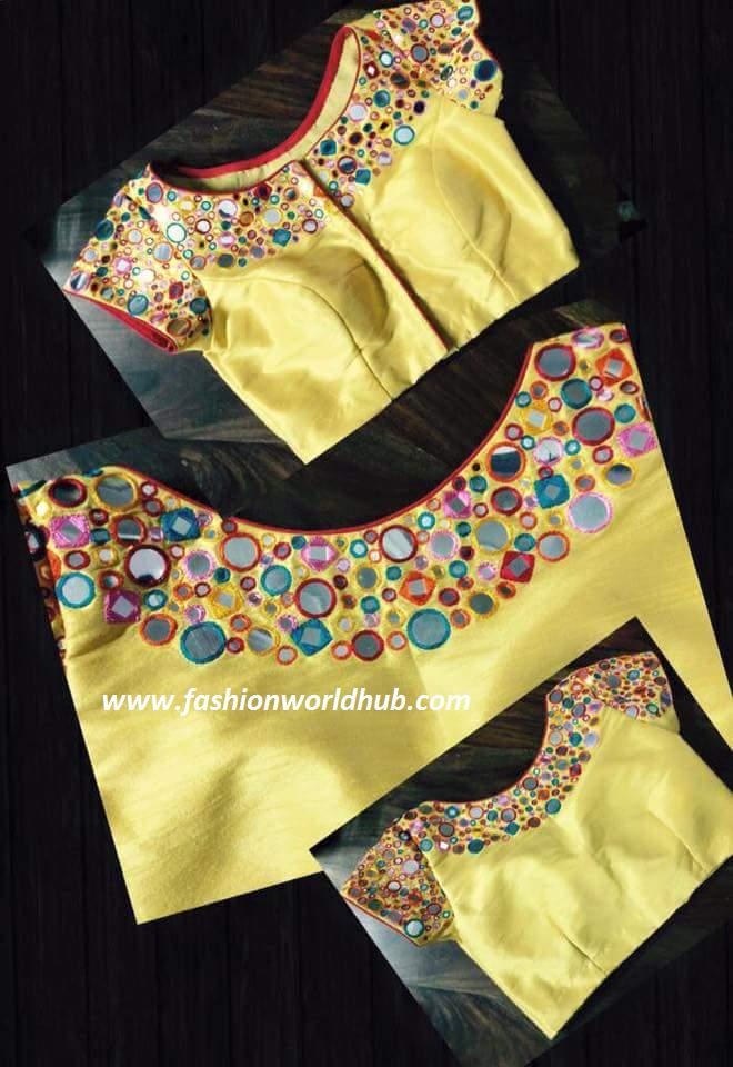 high neck mirror work blouse-fashionworldhub