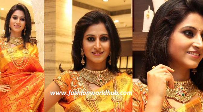 Shamili Sounderajan in Orange Kanjeevaram Saree