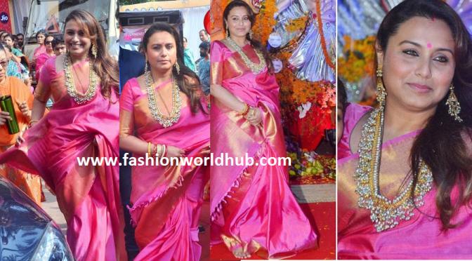 Rani Mukharjee in Pink Kanchipuram saree & Heavy Guttapusala haram