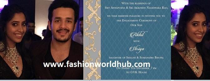 Akhil Akkineni Engagement card & Details!