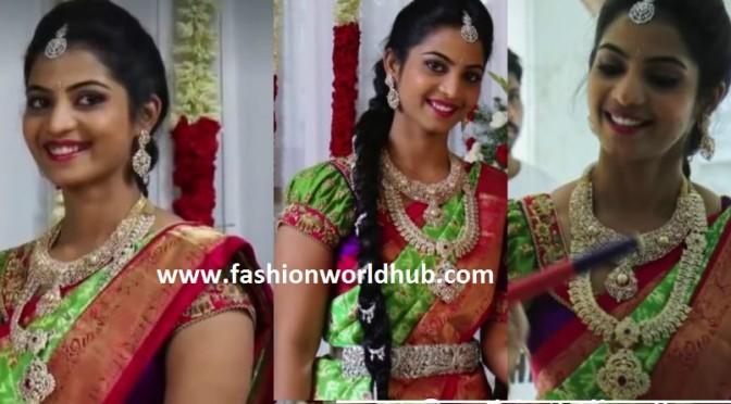Madhuri Reddy ( Rajeev Reddy sister) in diamond jewellery on pellikoduku function!