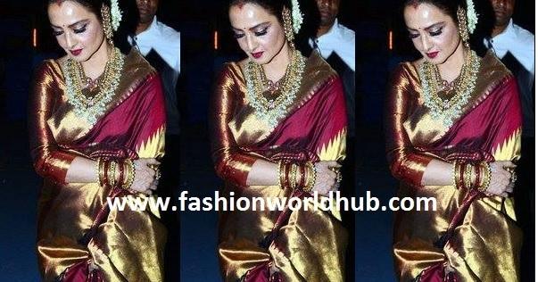 Rekha at Star screen awards in Marron kanjeevaram saree
