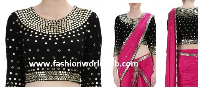 Buy online- Black Mirror work blouse & Saree