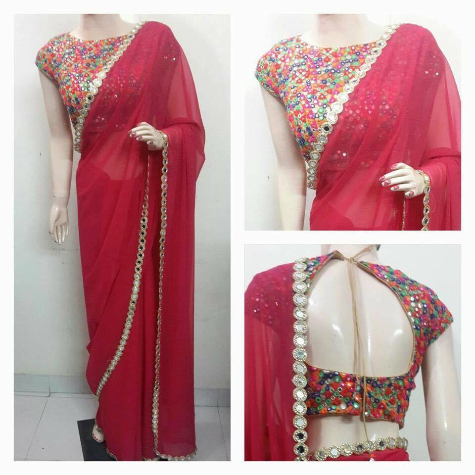 Heavy mirror work blouses fashionworldhub for Mirror work saree
