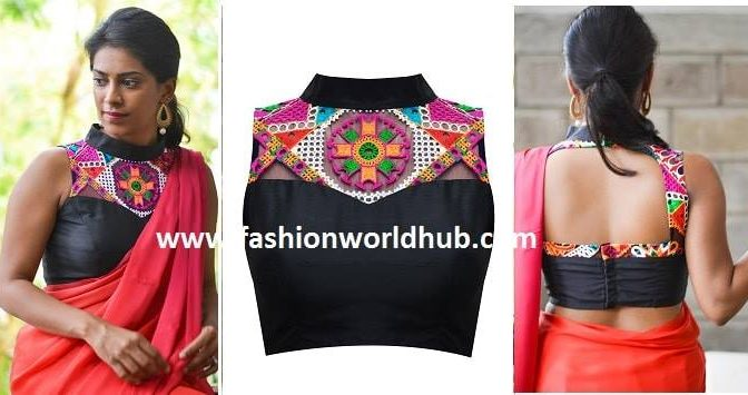 Black collared blouse with kutchwork yoke (Buy online)