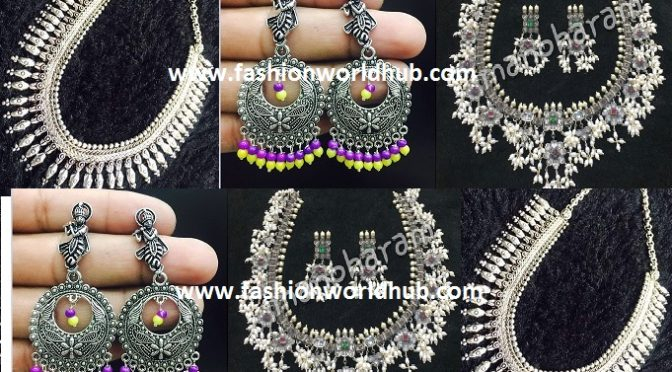 German sliver Ear rings & Long chains ~Manoharam silver Jewellery~