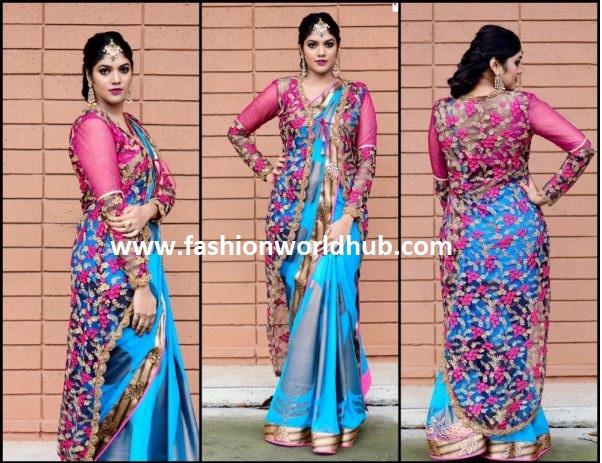 Designer saree with long jacket