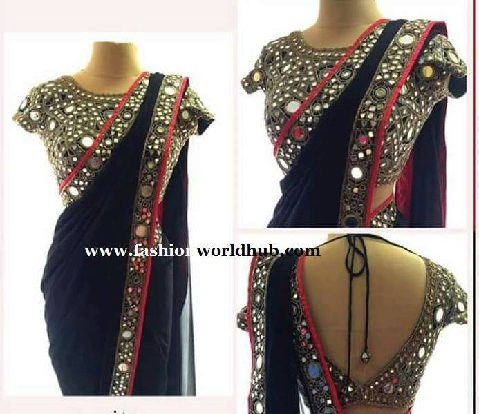 Mirror work sarees & blouse