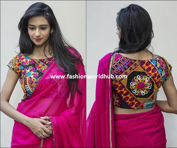 Plain saree with kutch work blouses