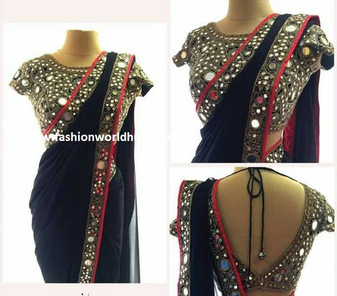 Plain sarees with mirror work blouses
