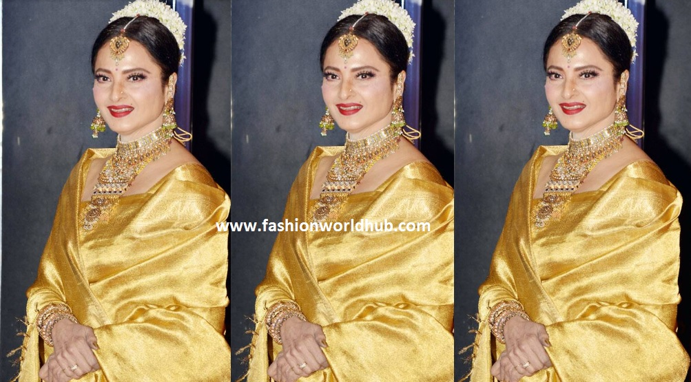 Rekha in gold kanjeevaram saree