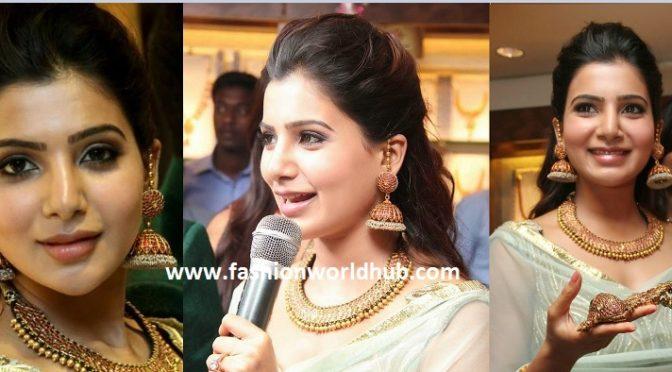 Samantha in Antique Jumkhas & necklace