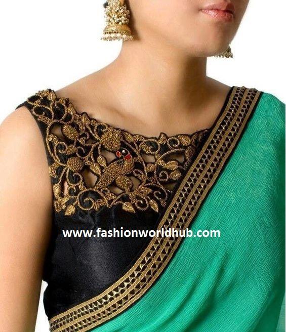 boat neck blouse and plain saree