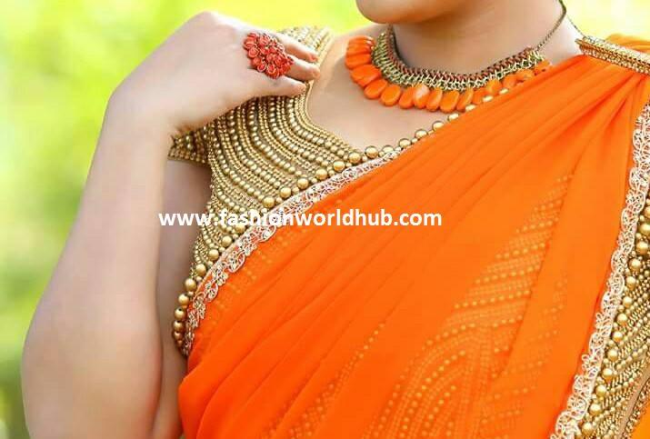 Fashion trend report 2017 - Trending Plain Sarees With Designer Blouse Fashionworldhub