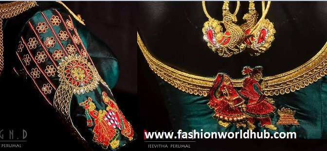 Awesome bride & bride groom embroidered Kunda work blouse!