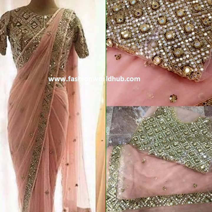 mirror work blouses with net sarees