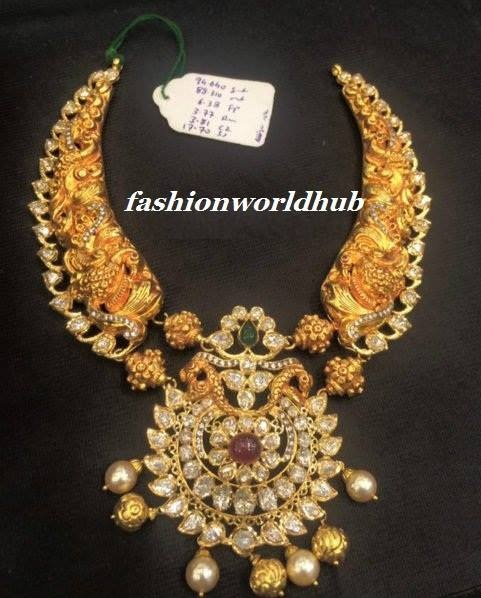 Buy Kundan Choker Necklace Priya Nacc10438c: Peacock Nakshi Polki Necklace