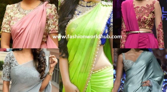 Trending Plain sarees with Designer blouse