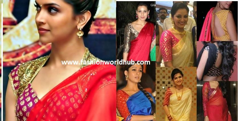 plain sarees with brocade blouses